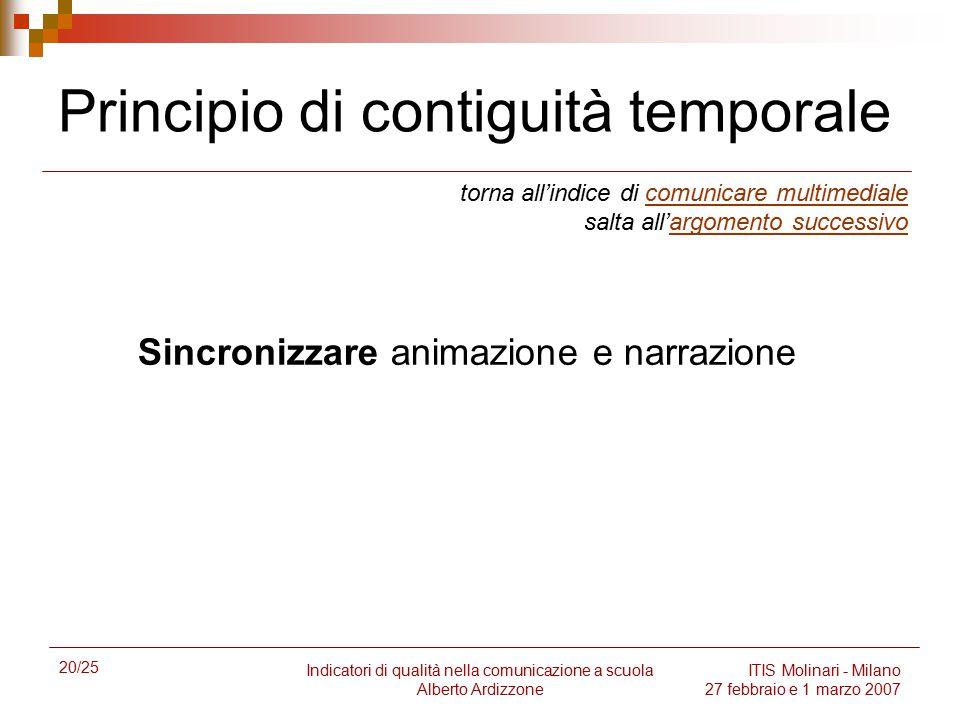 20/25 Indicatori di qualità nella comunicazione a scuola Alberto Ardizzone ITIS Molinari - Milano 27 febbraio e 1 marzo 2007 Principio di contiguità t