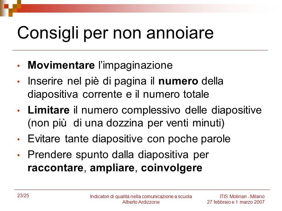 23/25 Indicatori di qualità nella comunicazione a scuola Alberto Ardizzone ITIS Molinari - Milano 27 febbraio e 1 marzo 2007 Consigli per non annoiare