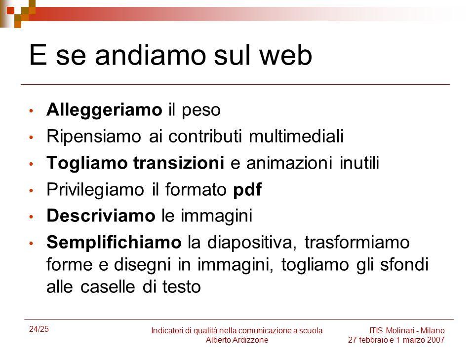 24/25 Indicatori di qualità nella comunicazione a scuola Alberto Ardizzone ITIS Molinari - Milano 27 febbraio e 1 marzo 2007 E se andiamo sul web Alle
