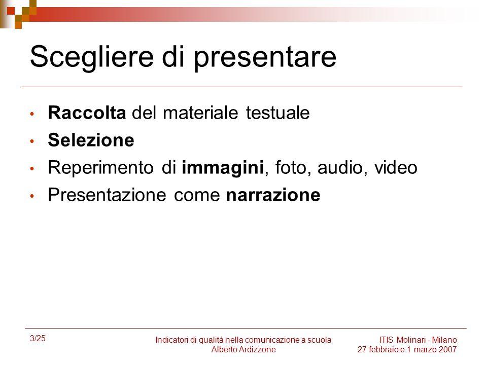3/25 Indicatori di qualità nella comunicazione a scuola Alberto Ardizzone ITIS Molinari - Milano 27 febbraio e 1 marzo 2007 Scegliere di presentare Ra