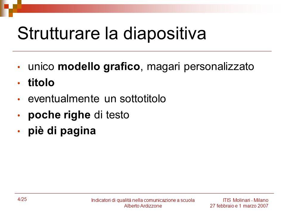 4/25 Indicatori di qualità nella comunicazione a scuola Alberto Ardizzone ITIS Molinari - Milano 27 febbraio e 1 marzo 2007 Strutturare la diapositiva