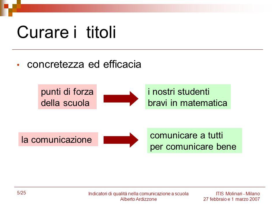 5/25 Indicatori di qualità nella comunicazione a scuola Alberto Ardizzone ITIS Molinari - Milano 27 febbraio e 1 marzo 2007 Curare i titoli concretezz