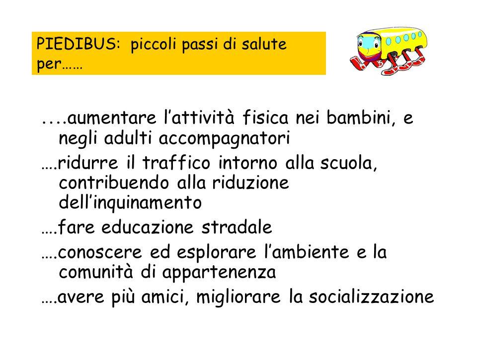 …. aumentare l'attività fisica nei bambini, e negli adulti accompagnatori ….ridurre il traffico intorno alla scuola, contribuendo alla riduzione dell'