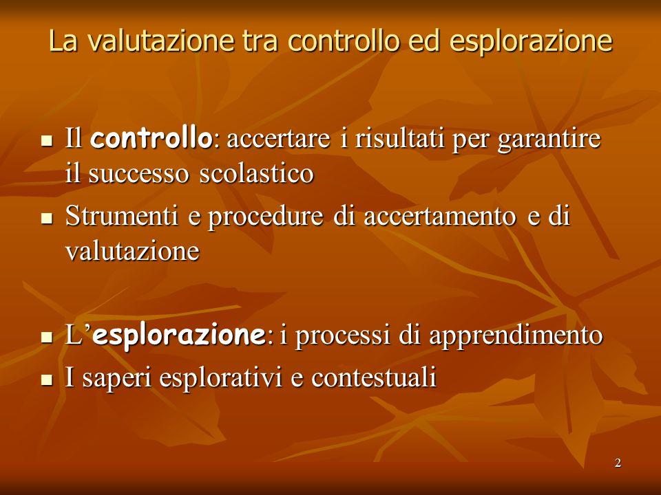 2 La valutazione tra controllo ed esplorazione Il controllo : accertare i risultati per garantire il successo scolastico Il controllo : accertare i ri