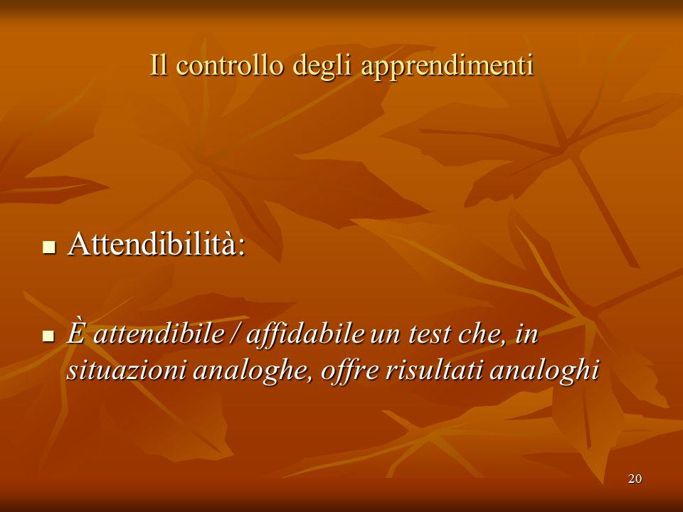20 Il controllo degli apprendimenti Attendibilità: Attendibilità: È attendibile / affidabile un test che, in situazioni analoghe, offre risultati analoghi È attendibile / affidabile un test che, in situazioni analoghe, offre risultati analoghi