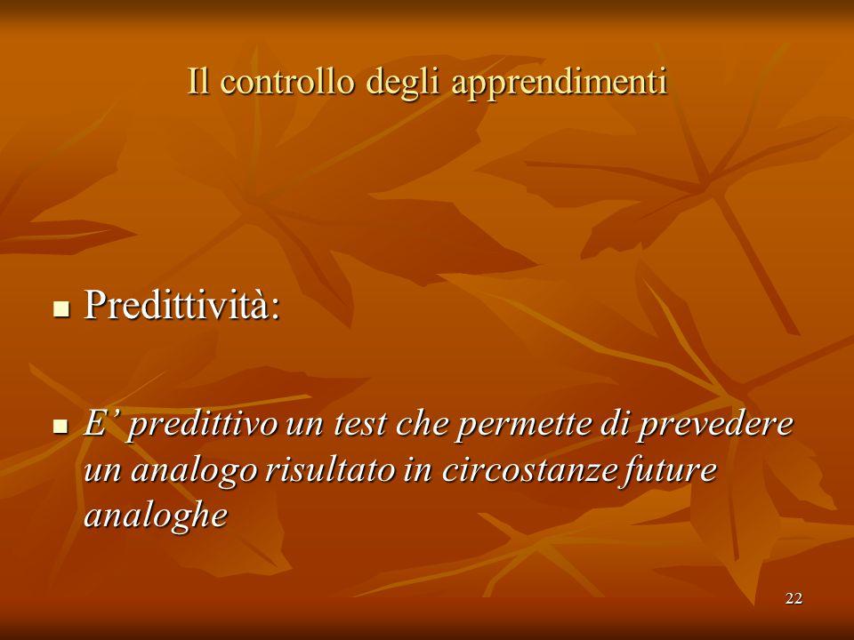 22 Il controllo degli apprendimenti Predittività: Predittività: E' predittivo un test che permette di prevedere un analogo risultato in circostanze fu