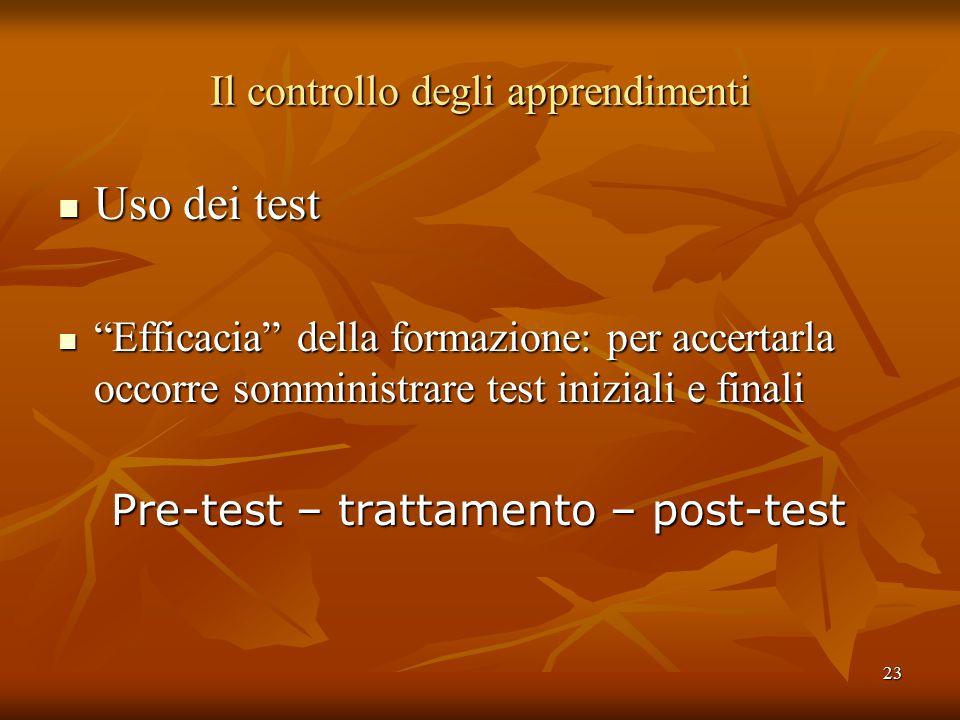 23 Il controllo degli apprendimenti Uso dei test Uso dei test Efficacia della formazione: per accertarla occorre somministrare test iniziali e finali Efficacia della formazione: per accertarla occorre somministrare test iniziali e finali Pre-test – trattamento – post-test Pre-test – trattamento – post-test
