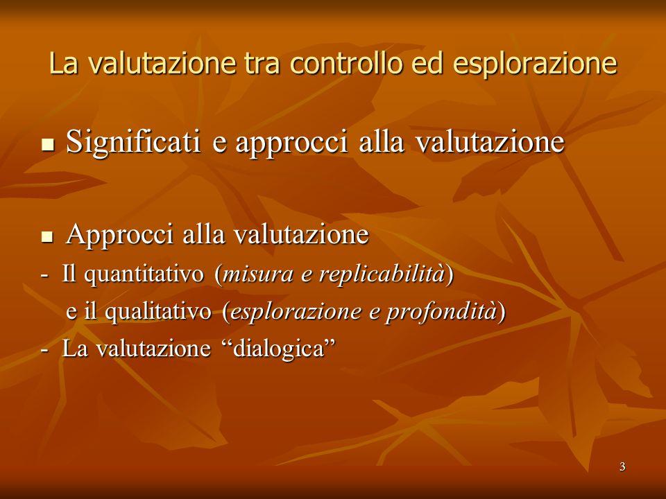 3 La valutazione tra controllo ed esplorazione Significati e approcci alla valutazione Significati e approcci alla valutazione Approcci alla valutazione Approcci alla valutazione - Il quantitativo (misura e replicabilità) e il qualitativo (esplorazione e profondità) e il qualitativo (esplorazione e profondità) - La valutazione dialogica