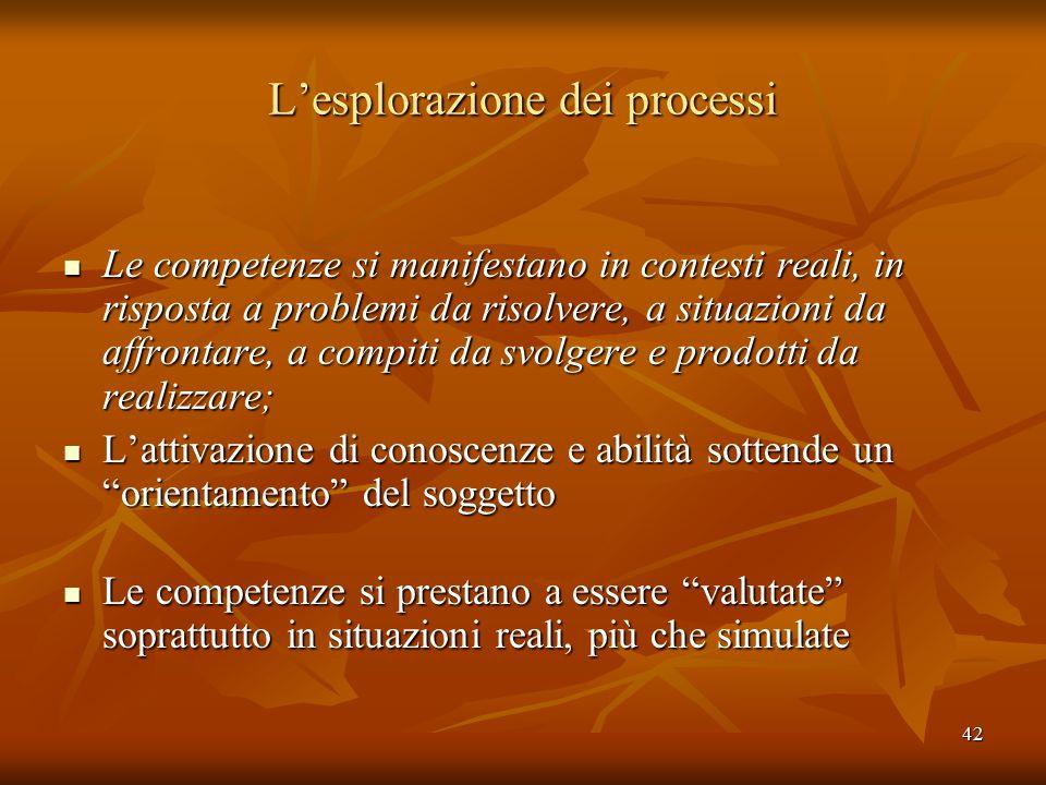 42 L'esplorazione dei processi Le competenze si manifestano in contesti reali, in risposta a problemi da risolvere, a situazioni da affrontare, a comp