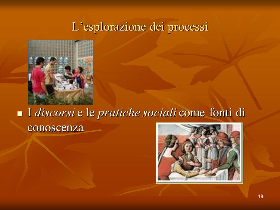 48 L'esplorazione dei processi I discorsi e le pratiche sociali come fonti di conoscenza I discorsi e le pratiche sociali come fonti di conoscenza