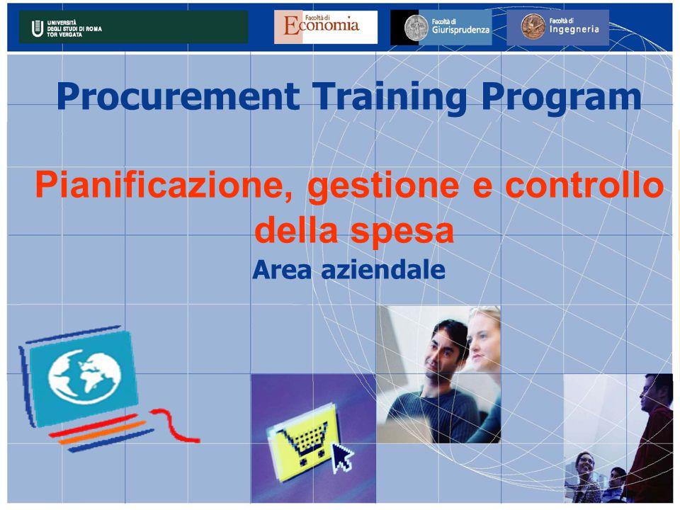 Procurement Training Program Pianificazione, gestione e controllo della spesa Area aziendale