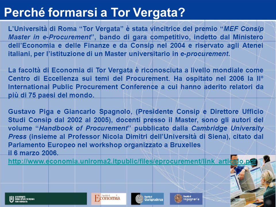 """L'Università di Roma """"Tor Vergata"""" è stata vincitrice del premio """"MEF Consip Master in e-Procurement"""", bando di gara competitivo, indetto dal Minister"""
