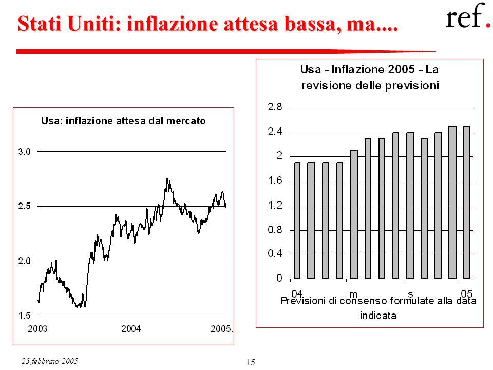 25 febbraio 2005 15 Stati Uniti: inflazione attesa bassa, ma....