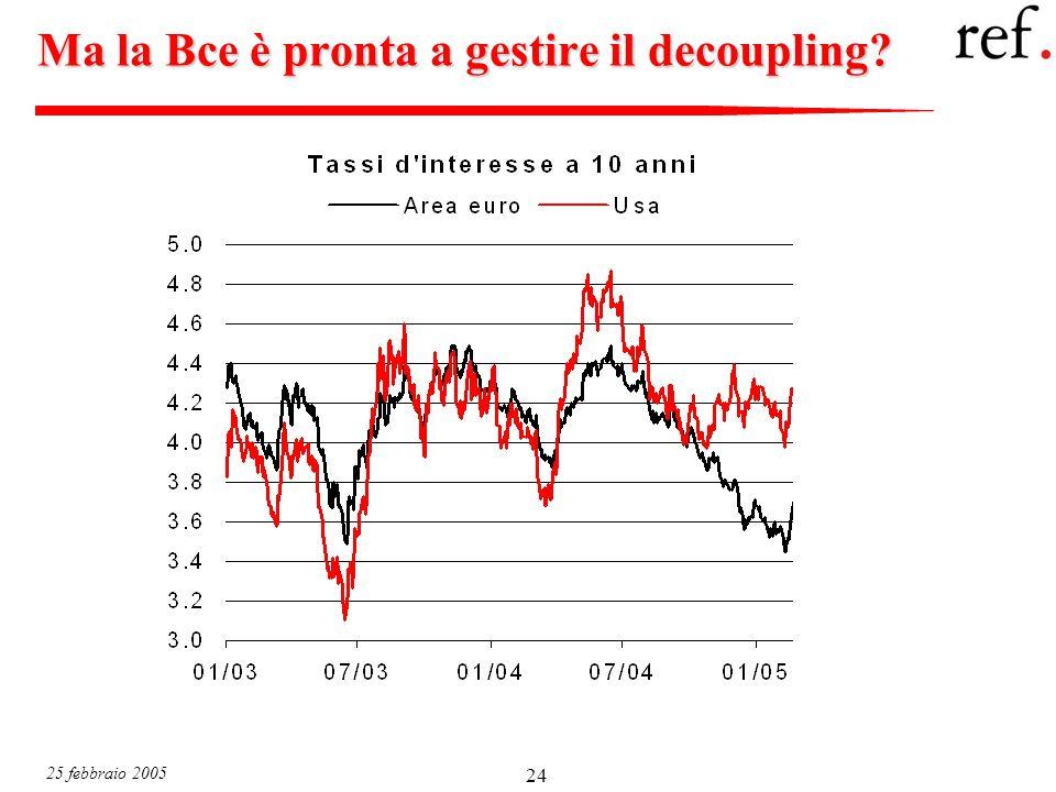 25 febbraio 2005 24 Ma la Bce è pronta a gestire il decoupling?