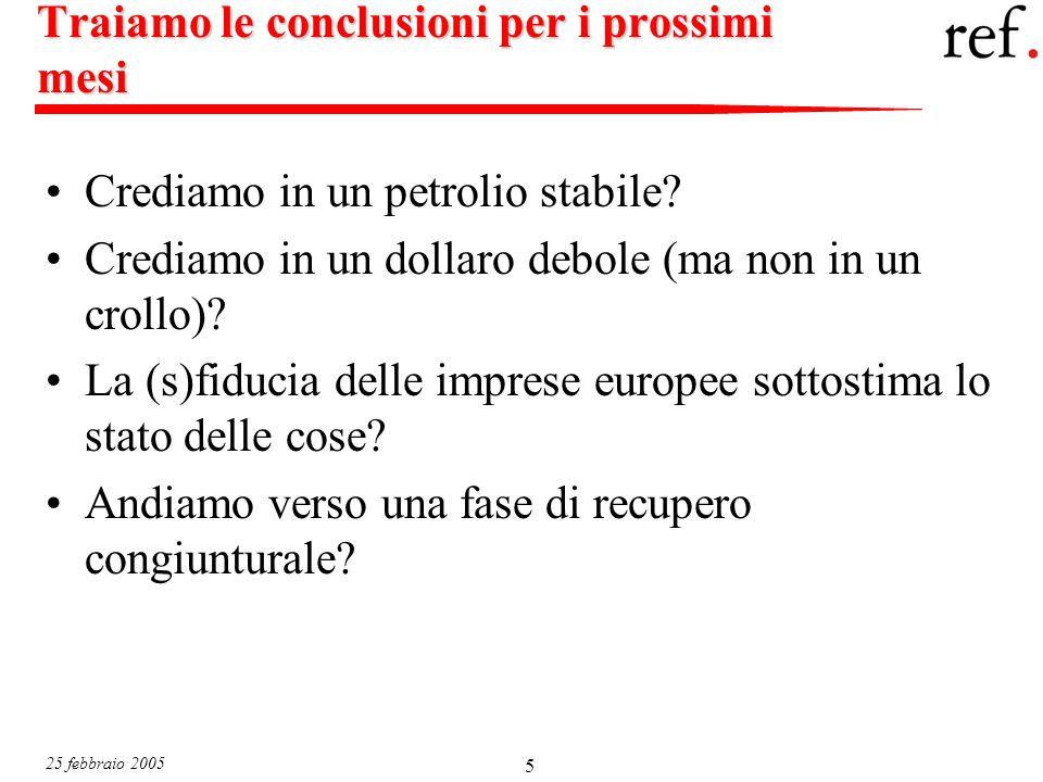 25 febbraio 2005 5 Traiamo le conclusioni per i prossimi mesi Crediamo in un petrolio stabile.
