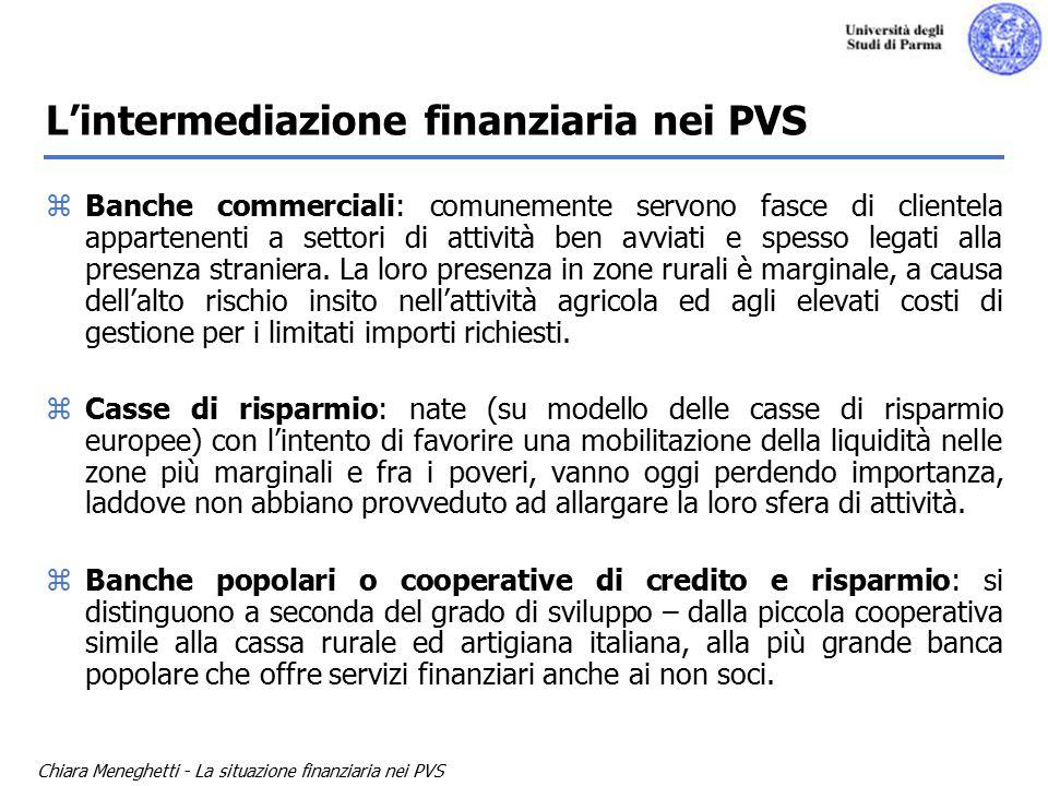Chiara Meneghetti - La situazione finanziaria nei PVS L'intermediazione finanziaria nei PVS zBanche commerciali: comunemente servono fasce di clientela appartenenti a settori di attività ben avviati e spesso legati alla presenza straniera.