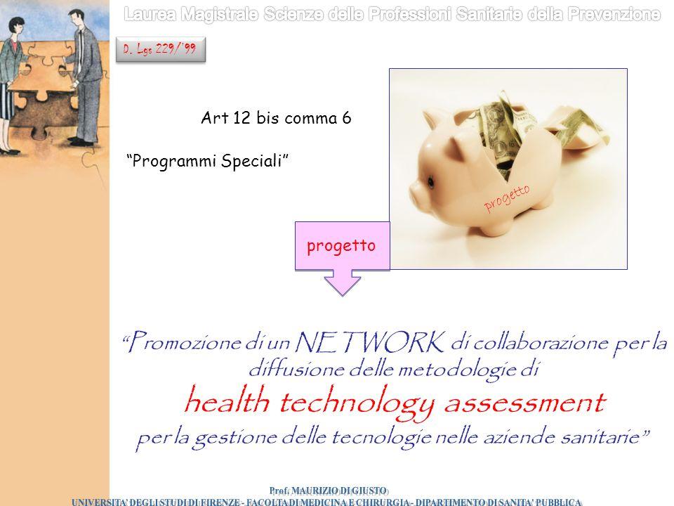 """Art 12 bis comma 6 """"Programmi Speciali"""" """"Promozione di un NETWORK di collaborazione per la diffusione delle metodologie di health technology assessmen"""