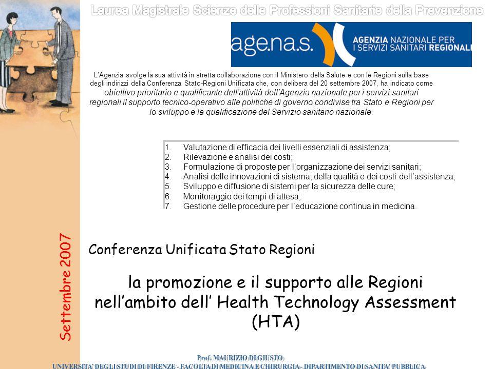 la promozione e il supporto alle Regioni nell'ambito dell' Health Technology Assessment (HTA) Settembre 2007 Conferenza Unificata Stato Regioni L'Agen