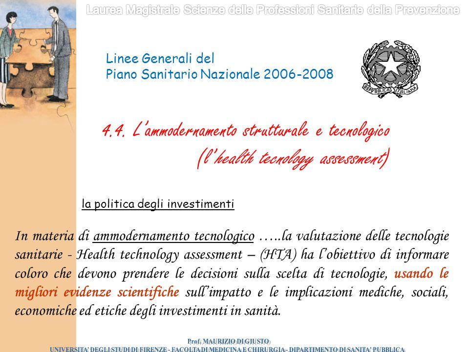 In materia di ammodernamento tecnologico …..la valutazione delle tecnologie sanitarie - Health technology assessment – (HTA) ha l'obiettivo di informa