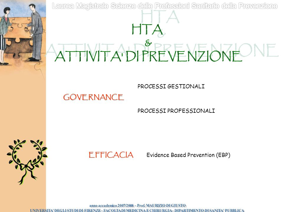 Evidence Based Prevention (EBP) PROCESSI GESTIONALI PROCESSI PROFESSIONALI GOVERNANCE EFFICACIA