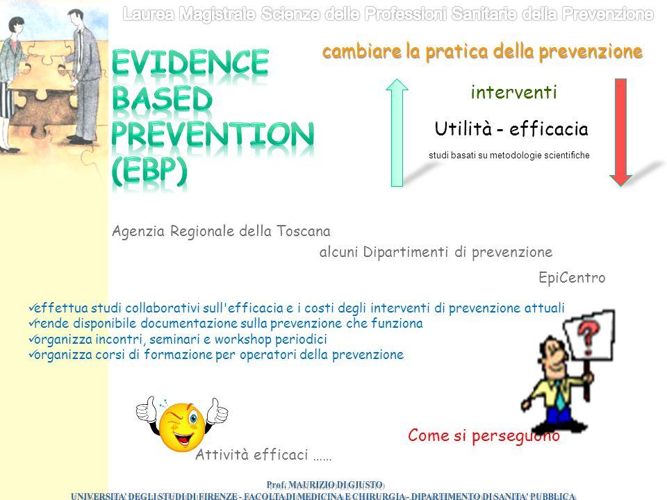 cambiare la pratica della prevenzione Utilità - efficacia interventi studi basati su metodologie scientifiche Agenzia Regionale della Toscana alcuni D