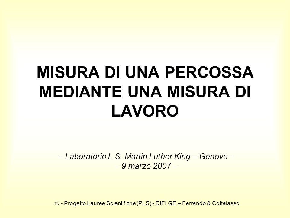 © - Progetto Lauree Scientifiche (PLS) - DIFI GE – Ferrando & Cottalasso MISURA DI UNA PERCOSSA MEDIANTE UNA MISURA DI LAVORO – Laboratorio L.S.