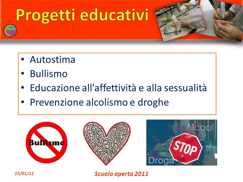 Autostima Bullismo Educazione all'affettività e alla sessualità Prevenzione alcolismo e droghe 15/01/11 Scuola aperta 2011