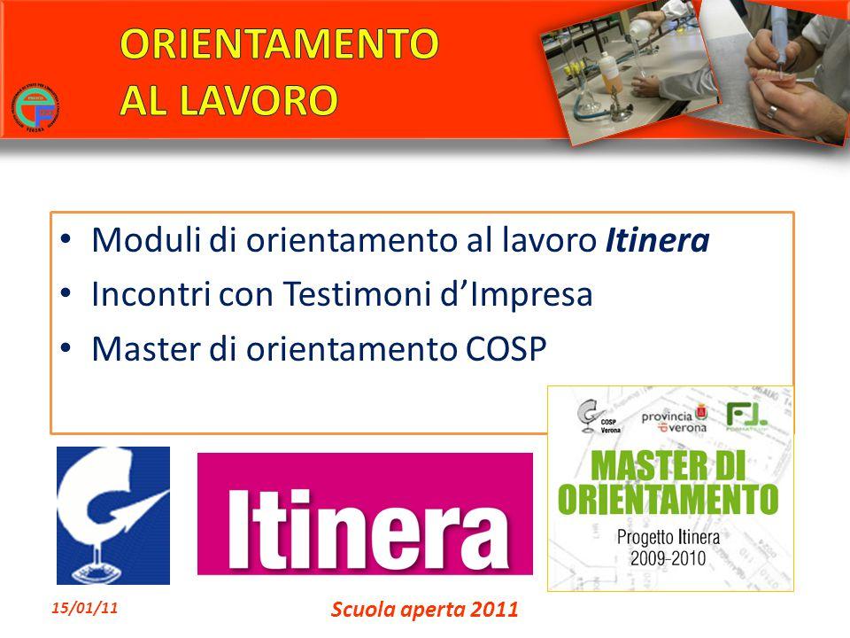 Moduli di orientamento al lavoro Itinera Incontri con Testimoni d'Impresa Master di orientamento COSP 15/01/11 Scuola aperta 2011