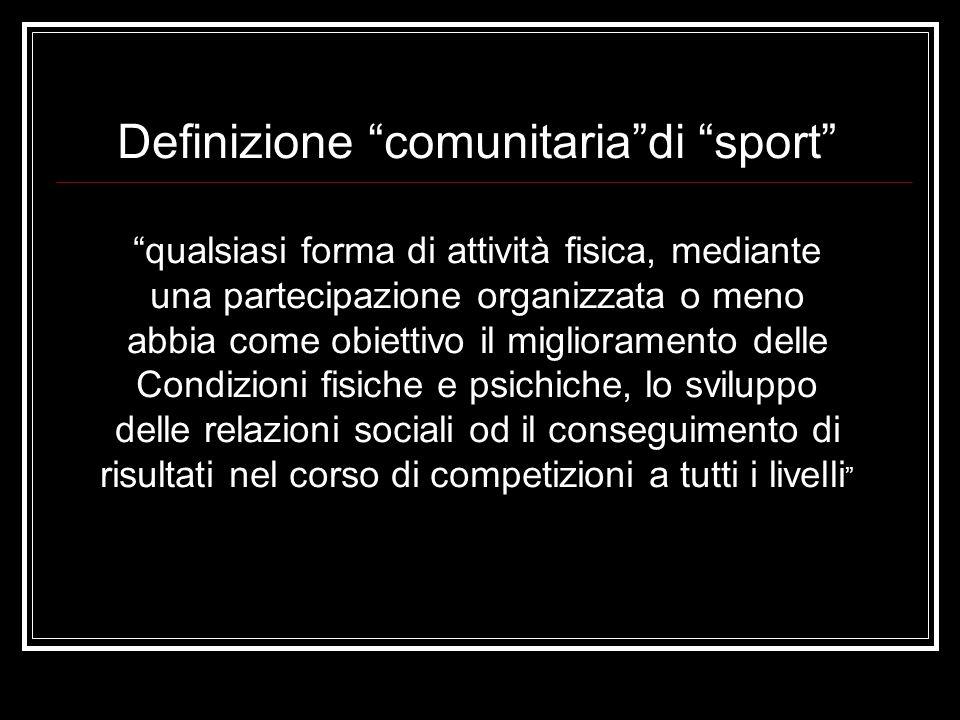 Definizione comunitaria di sport qualsiasi forma di attività fisica, mediante una partecipazione organizzata o meno abbia come obiettivo il miglioramento delle Condizioni fisiche e psichiche, lo sviluppo delle relazioni sociali od il conseguimento di risultati nel corso di competizioni a tutti i livelli
