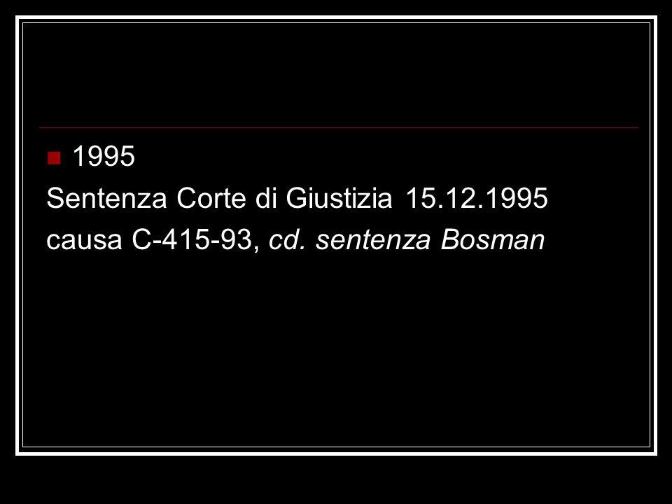 1995 Sentenza Corte di Giustizia 15.12.1995 causa C-415-93, cd. sentenza Bosman