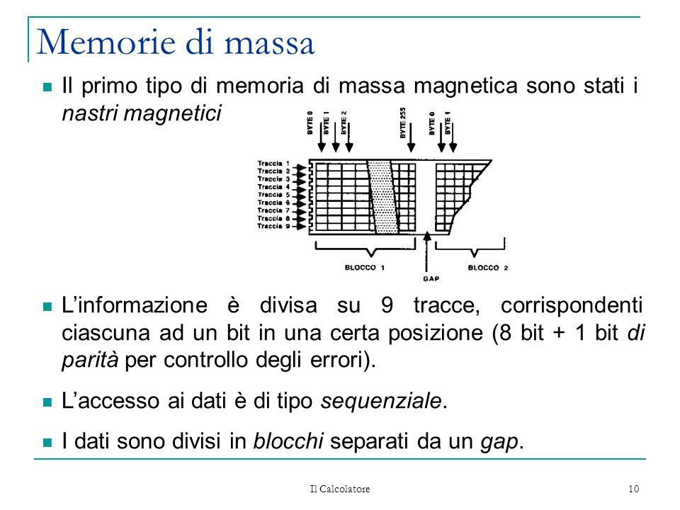 Il Calcolatore 10 Memorie di massa Il primo tipo di memoria di massa magnetica sono stati i nastri magnetici L'informazione è divisa su 9 tracce, corr