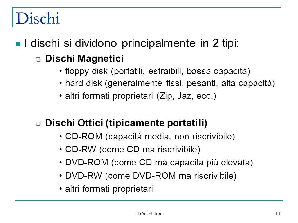 Il Calcolatore 13 Dischi I dischi si dividono principalmente in 2 tipi:  Dischi Magnetici floppy disk (portatili, estraibili, bassa capacità) hard disk (generalmente fissi, pesanti, alta capacità) altri formati proprietari (Zip, Jaz, ecc.)  Dischi Ottici (tipicamente portatili) CD-ROM (capacità media, non riscrivibile) CD-RW (come CD ma riscrivibile) DVD-ROM (come CD ma capacità più elevata) DVD-RW (come DVD-ROM ma riscrivibile) altri formati proprietari