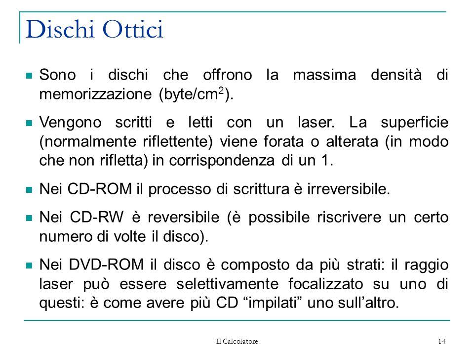 Il Calcolatore 14 Dischi Ottici Sono i dischi che offrono la massima densità di memorizzazione (byte/cm 2 ). Vengono scritti e letti con un laser. La
