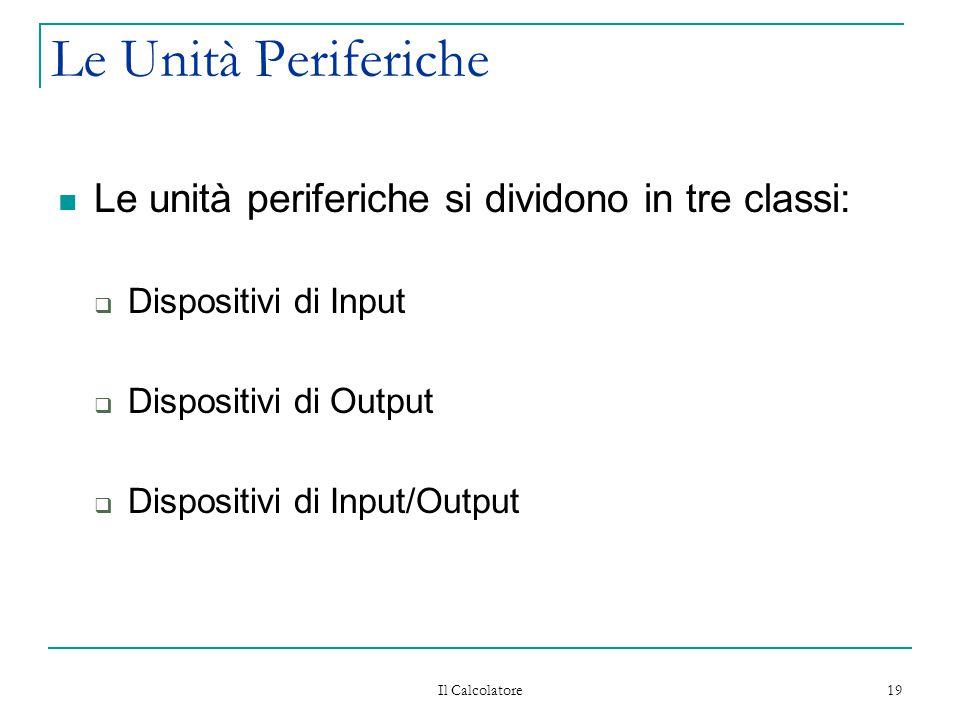 Il Calcolatore 19 Le Unità Periferiche Le unità periferiche si dividono in tre classi:  Dispositivi di Input  Dispositivi di Output  Dispositivi di Input/Output