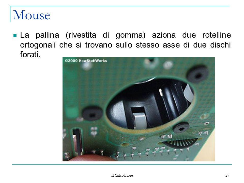 Il Calcolatore 27 Mouse La pallina (rivestita di gomma) aziona due rotelline ortogonali che si trovano sullo stesso asse di due dischi forati.