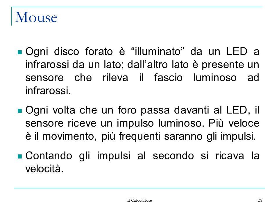 """Il Calcolatore 28 Mouse Ogni disco forato è """"illuminato"""" da un LED a infrarossi da un lato; dall'altro lato è presente un sensore che rileva il fascio"""