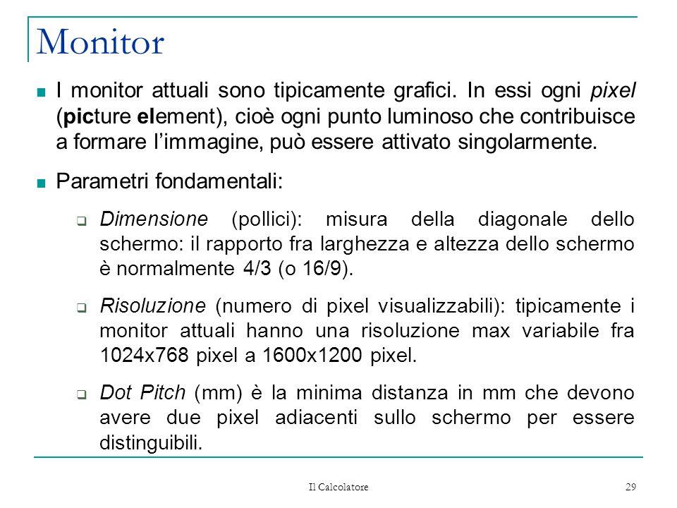 Il Calcolatore 29 Monitor I monitor attuali sono tipicamente grafici. In essi ogni pixel (picture element), cioè ogni punto luminoso che contribuisce
