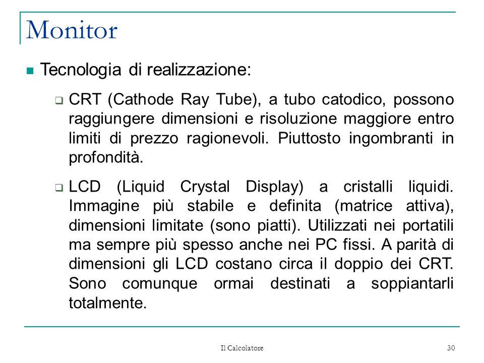 Il Calcolatore 30 Monitor Tecnologia di realizzazione:  CRT (Cathode Ray Tube), a tubo catodico, possono raggiungere dimensioni e risoluzione maggiore entro limiti di prezzo ragionevoli.
