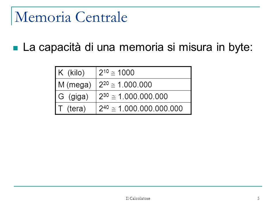 Il Calcolatore 5 Memoria Centrale La capacità di una memoria si misura in byte: K (kilo) 2 10  1000 M (mega) 2 20  1.000.000 G (giga) 2 30  1.000.0