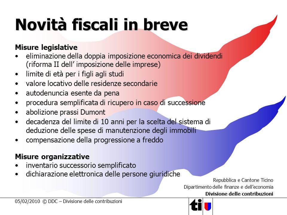 05/02/2010 © DDC – Divisione delle contribuzioni Novità fiscali in breve Misure legislative eliminazione della doppia imposizione economica dei divide