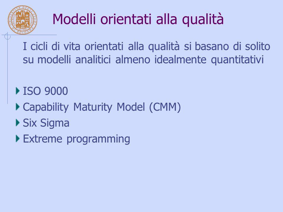 Modelli orientati alla qualità I cicli di vita orientati alla qualità si basano di solito su modelli analitici almeno idealmente quantitativi ISO 9000 Capability Maturity Model (CMM) Six Sigma Extreme programming