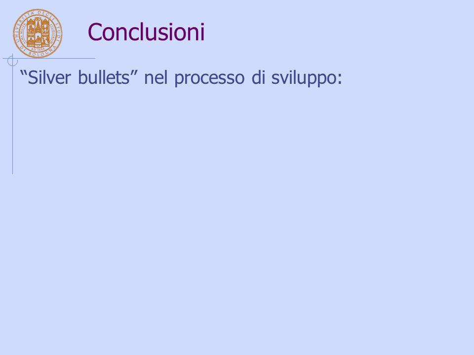 """Conclusioni """"Silver bullets"""" nel processo di sviluppo:"""