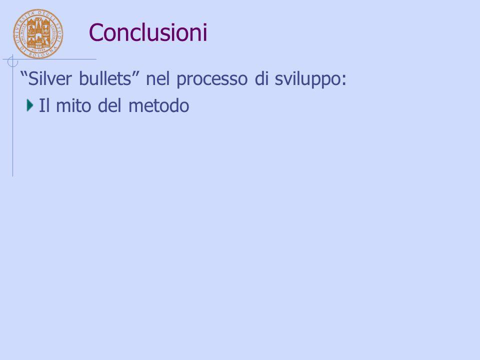 Conclusioni Silver bullets nel processo di sviluppo: Il mito del metodo