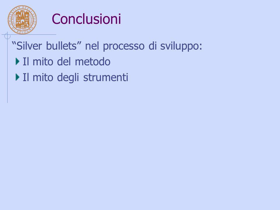 """Conclusioni """"Silver bullets"""" nel processo di sviluppo: Il mito del metodo Il mito degli strumenti"""