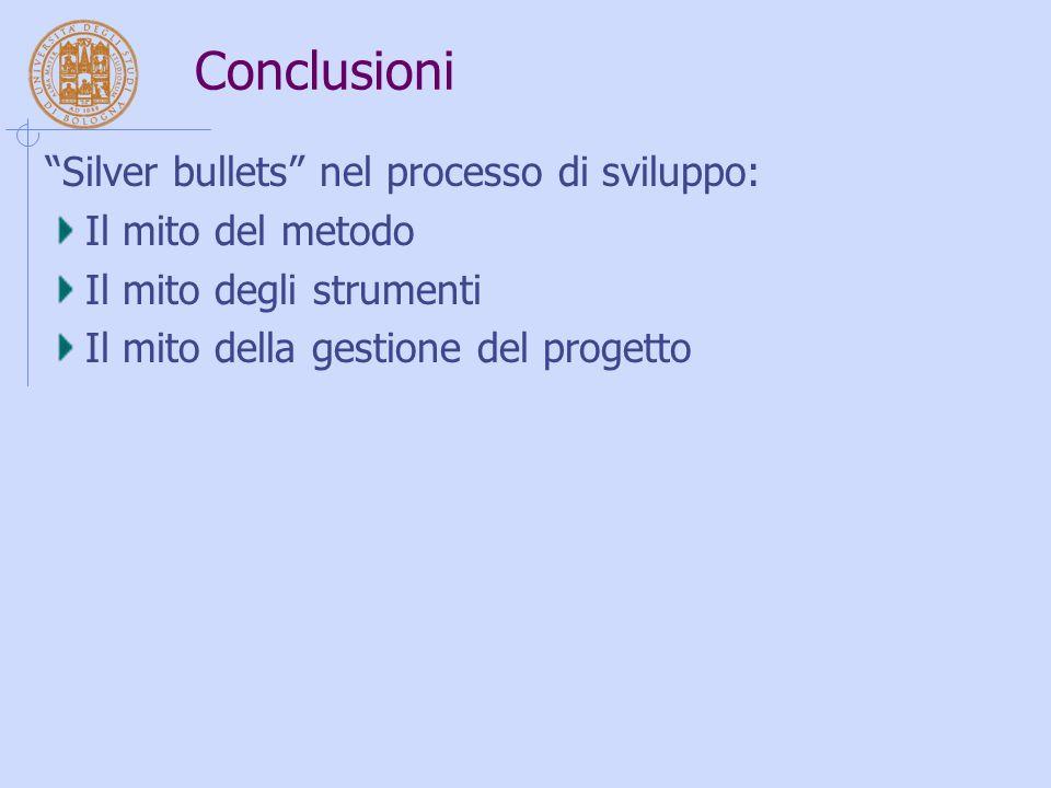 """Conclusioni """"Silver bullets"""" nel processo di sviluppo: Il mito del metodo Il mito degli strumenti Il mito della gestione del progetto"""