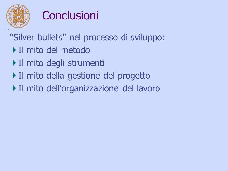 """Conclusioni """"Silver bullets"""" nel processo di sviluppo: Il mito del metodo Il mito degli strumenti Il mito della gestione del progetto Il mito dell'org"""