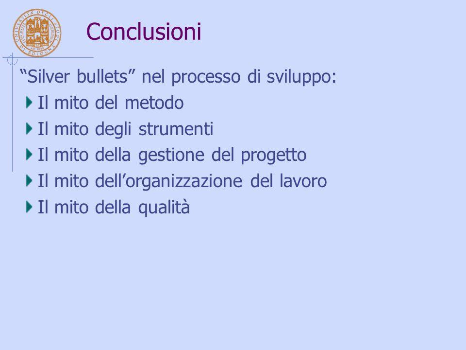 Conclusioni Silver bullets nel processo di sviluppo: Il mito del metodo Il mito degli strumenti Il mito della gestione del progetto Il mito dell'organizzazione del lavoro Il mito della qualità
