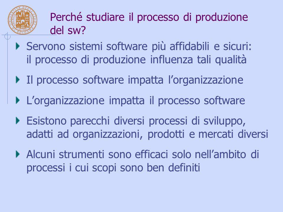 Perché studiare il processo di produzione del sw? Servono sistemi software più affidabili e sicuri: il processo di produzione influenza tali qualità I