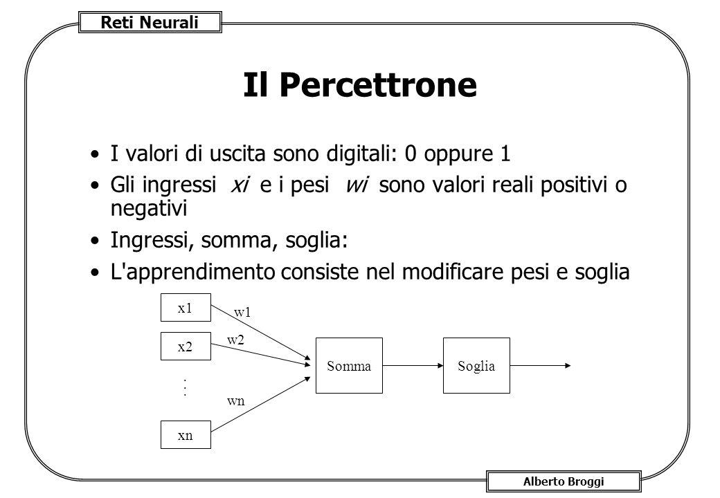 Reti Neurali Alberto Broggi Il Percettrone I valori di uscita sono digitali: 0 oppure 1 Gli ingressi xi e i pesi wi sono valori reali positivi o negativi Ingressi, somma, soglia: L apprendimento consiste nel modificare pesi e soglia x1 x2 xn...