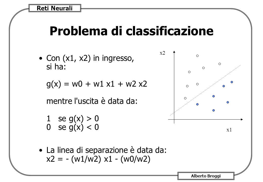 Reti Neurali Alberto Broggi Problema di classificazione Con (x1, x2) in ingresso, si ha: g(x) = w0 + w1 x1 + w2 x2 mentre l uscita è data da: 1 se g(x) > 0 0 se g(x) < 0 La linea di separazione è data da: x2 = - (w1/w2) x1 - (w0/w2) x2 x1